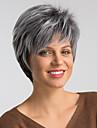 Συνθετικές Περούκες Φυσικό ευθεία Στυλ Κούρεμα νεράιδας Χωρίς κάλυμμα Περούκα Μαύρο Μαύρο / Λευκό Συνθετικά μαλλιά 8 inch Γυναικεία Μοδάτο Σχέδιο / Νέα άφιξη / Μαλλιά με ανταύγειες Μαύρο / Ombre