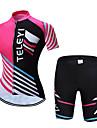 TELEYI Dame Kortærmet Cykeltrøje og shorts - Lys pink Stribe Cykel Tøjsæt Åndbart Sport Polyester Stribe Bjerg Cykling Vej Cykling Tøj / Elastisk
