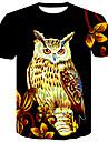 T-shirt Per uomo Serata Essenziale / Moda citta Con stampe, Fantasia floreale / Animali Rotonda / Manica corta / Estate