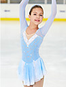 Robe de Patinage Artistique Femme Fille Patinage Robes Bleu / blanc Spandex Haute elasticite Competition Tenue de Patinage Fait a la main Classique Mode Patinage sur glace Patinage Artistique
