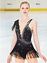 Figure Skating Dress Women\'s Girls\' Ice Skating Dress Black Open Back Asymmetric Hem Spandex Stretch Yarn High Elasticity Professional Competition Skating Wear Handmade Fashion Sleeveless Ice Skating
