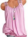 Mulheres Tamanhos Grandes Blusa Basico Renda, Solido Preto XXXL / Verao