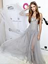 Corte en A Sin Tirantes Hasta el Suelo Tul Evento Formal Vestido con Cuentas por TS Couture®