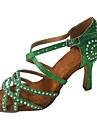 בגדי ריקוד נשים נעליים לטיניות סטן עקבים פרטים מקריסטל / נצנוץ סלים גבוהה עקב מותאם אישית נעלי ריקוד אדום בהיר / ירוק / כחול