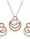 Γυναικεία Διάφανο Cubic Zirconia Κοσμήματα Σετ Με Επίστρωση Ροζ Χρυσού, Προσομειωμένο διαμάντι Μοναδικό, Γλυκός, Κομψό Περιλαμβάνω Κρίκοι Κρεμαστά Κολιέ Ανοικτό Καφέ Για Πάρτι Βραδινό Πάρτυ Επίσημο
