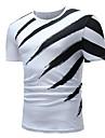 Miesten Pyöreä kaula-aukko Puuvilla Painettu Raidoitettu T-paita Valkoinen XL