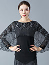 Ballroom Dance Tops Women\'s Training / Performance Polyester Lace / Ruching Long Sleeve Top