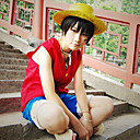Inspired by One Piece Monkey D. Luffy Anime Cosplay Costumes Cosplay Suits Patchwork Sleeveless Vest Shorts For Men's