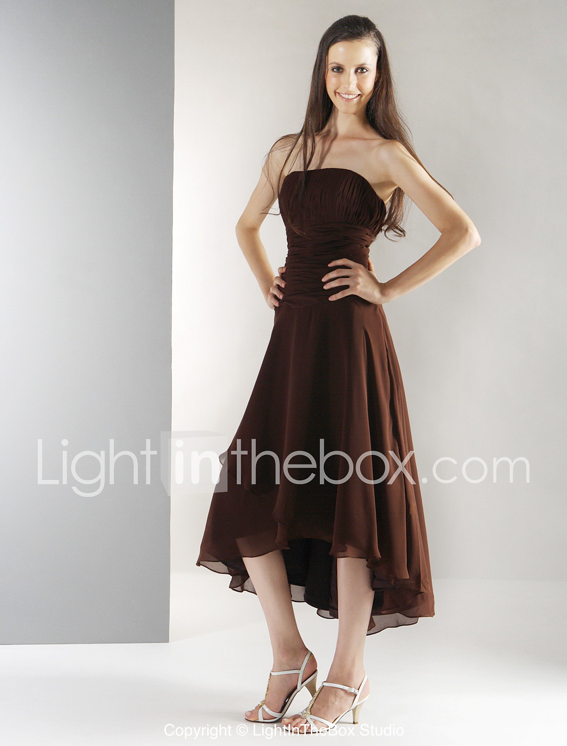 A line princess strapless tea length asymmetrical chiffon tea length asymmetrical chiffon bridesmaid dress with draping ruching by lan photo by lightinthebox ombrellifo Image collections