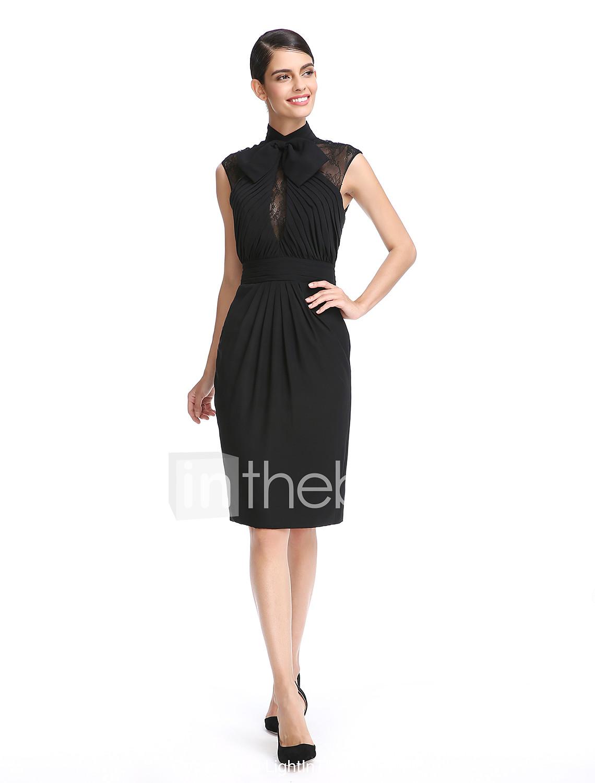 Ίσια Γραμμή Ζιβάγκο Μέχρι το γόνατο Σιφόν Μικρό Μαύρο Φόρεμα Κοκτέιλ Πάρτι  Φόρεμα με Δαντέλα   202599e036d