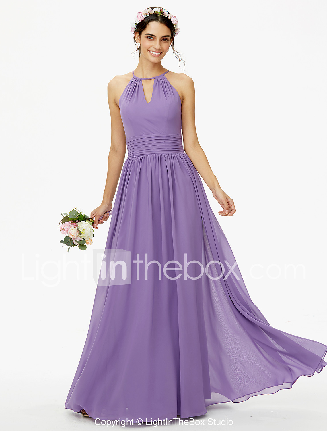 A-Line Jewel Neck Floor Length Chiffon Bridesmaid Dress with Buttons ...