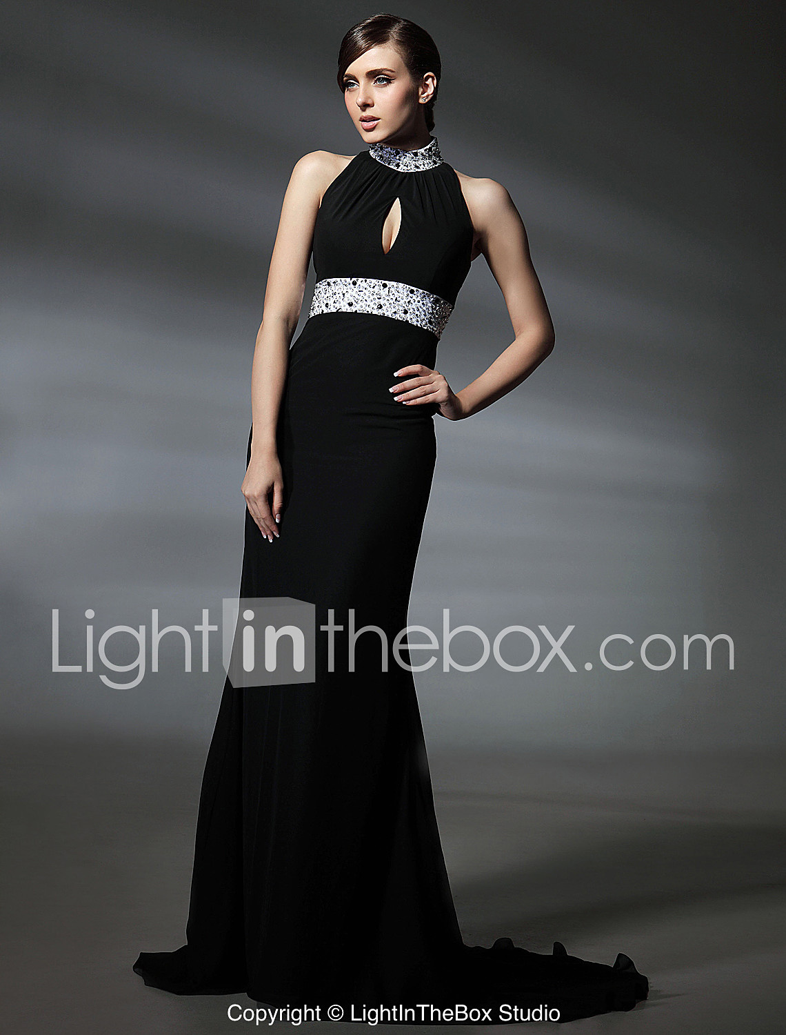 a466cc73f0 Mermaid   Trumpet High Neck Court Train Chiffon Celebrity Style   Keyhole  Formal Evening Dress with