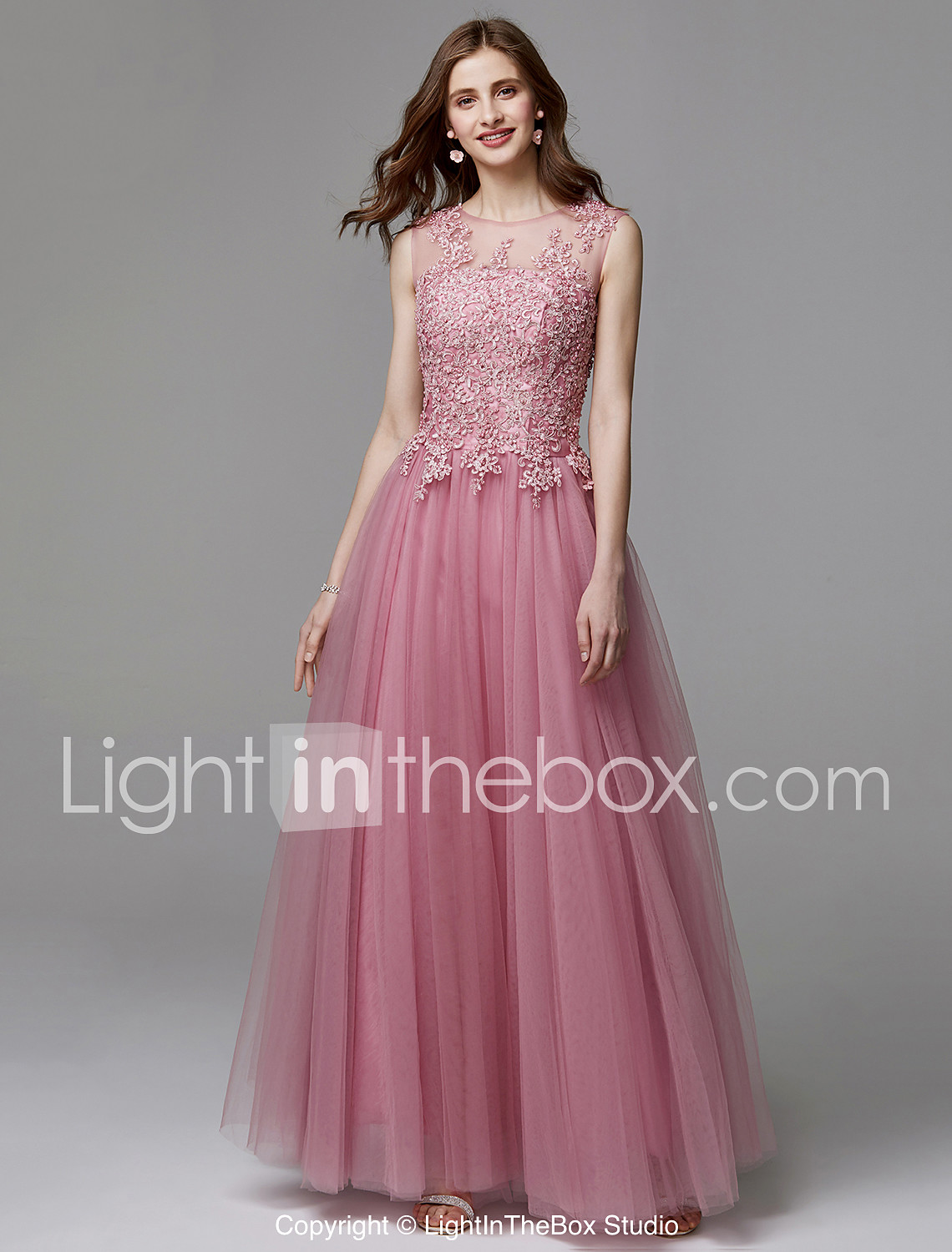 A-Line Illusion Neck Floor Length Tulle / Beaded Lace Prom / Wedding ...
