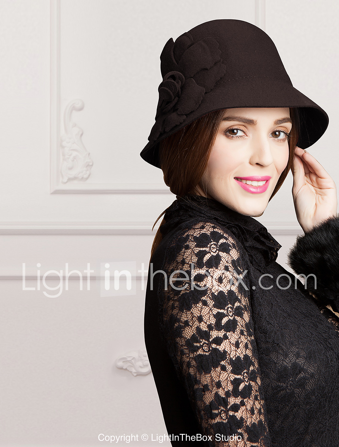 Women S Flower Wool Headpiece Special Occasion Casual Outdoor Hats 01246211